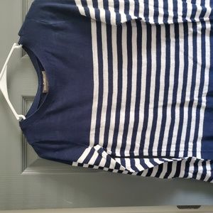 Blue and white long sleeve tee